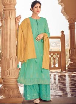 Striking Handwork Fancy Fabric Sea Green Designer Palazzo Suit