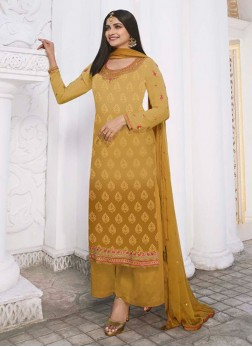 Stunning Brasso Shaded Festival Look On Salwar Suit In Yellow