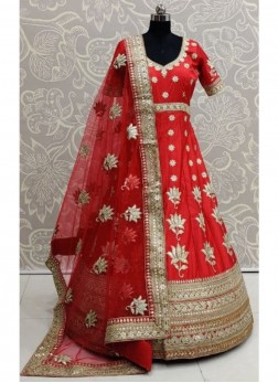 Stunning Bridal Wear Gown On Silk In Red With Gotta Pati Work