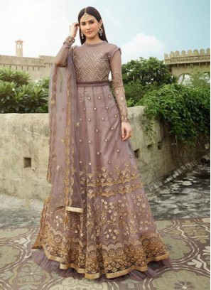 Stunning Crimson Pink Embroidery Anarkali Style Salwar Suit