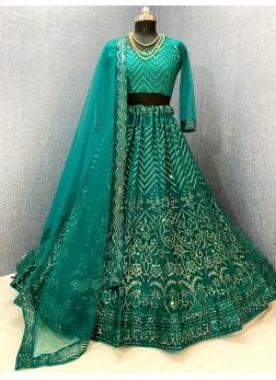 Stunning Embroidered Designer Net Lehenga Choli In