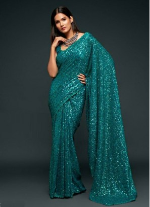 Stunning Embroidery Saree In Teal