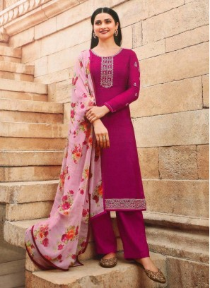 Stunning Festival Look Designer Salwar Suit In Rani & Pink