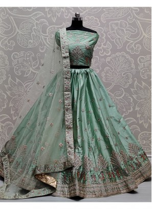 Stunning Light Sea Green Sober and Embroidery Work Wedding Wear Lehenga Choli