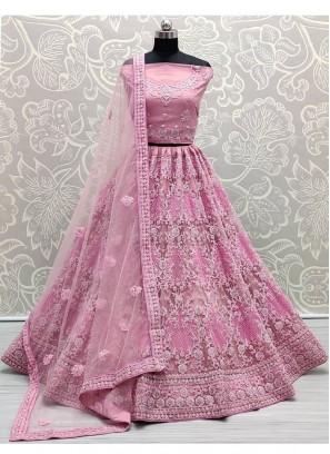 Stunning Pink Corded Embroidery On Net Designer Lehenga Choli