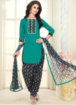 Stupendous Cotton Blue Punjabi Suit