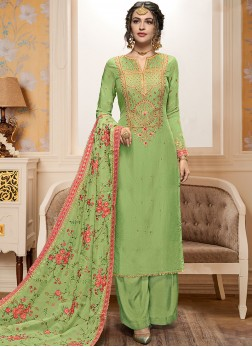 Stupendous Green Embroidered Designer Pakistani Suit