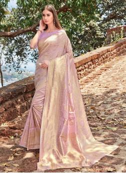 Stupendous Jacquard Silk Lavender Designer Traditional Saree