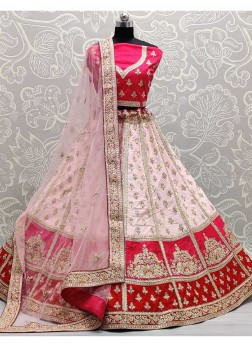 Stupendous Zarkan Touch With Patch Work Panetar Style Lehenga Choli In Pink - Red