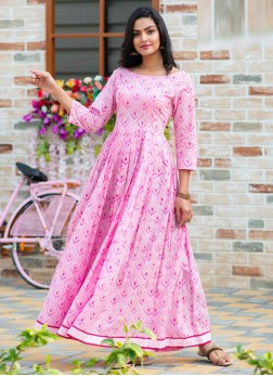 Stylish Back Side Neck With Degital Printed Round Kurti In Pink