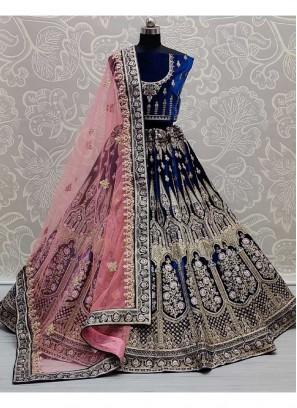 Stylish Bridal Dori & Thread Work Velvet Lehenga Choli In Blue
