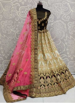 Stylish Bridal Wear Silk On Lehenga Choli In Khaki
