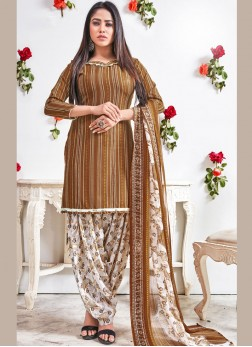 Stylish Brown Faux Crepe Punjabi Suit