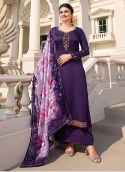 Stylish Embroidered Georgette Pakistani Suit In Purple