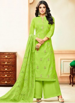 Stylish Embroidered Green Art Silk Designer Palazzo Suit