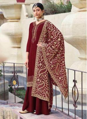 Stylish Festival Wear Designer Salwar Suit In Maroon