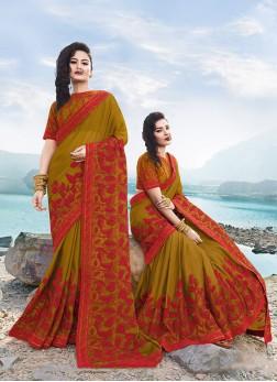 Stylish Georgette Satin Sangeet Designer Saree