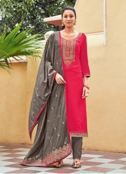 Stylish Girl This Wear Swarovski Work On Salwar Kameez In Pink