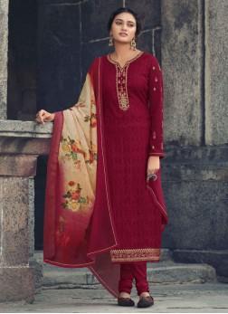 Stylish Girlish Embroidery Work Straight Salwar Kameez In Maroon