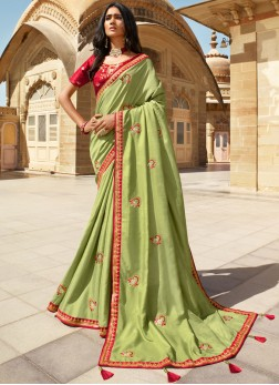 Stylish Green Embroidered Trendy Saree