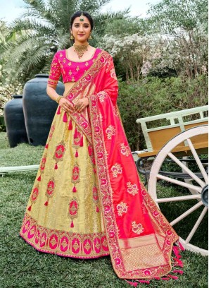 Stylish Hand & Embroidery Lehenga Choli In Pink