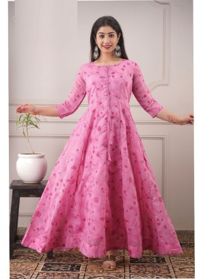 Stylish Hand Screen & Foil Print Anarkali Style Gown In Pink