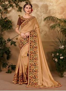 Stylish Heavy Cut Work Boder Silk Saree In Beige