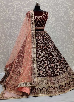 Stylish Indian Bridal Ghagra Choli On Velvet With Sequence Work In Maroon