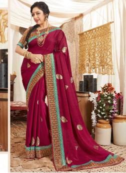Stylish Party Wear Weaving Work Silk Saree In Maroon