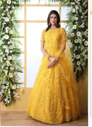Stylish Stone Work Yellow Net Designer Gown