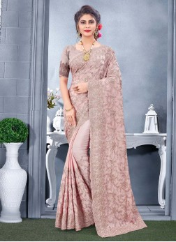 Stylish Wear Embroidery Work On Saree In Pink