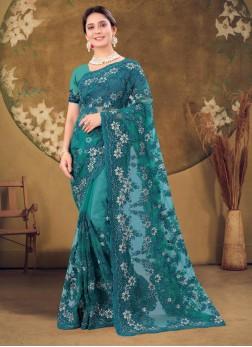 Stylish Wear Resham & Zarkan Work Designer Saree I