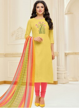 Stylish Yellow Festival Churidar Suit