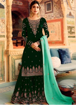 Subtle Embroidered Art Silk Palazzo Salwar Kameez