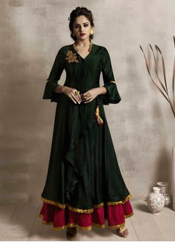Subtle Embroidered Green Party Wear Kurti