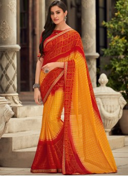 Subtle Faux Chiffon Red and Yellow Shaded Saree