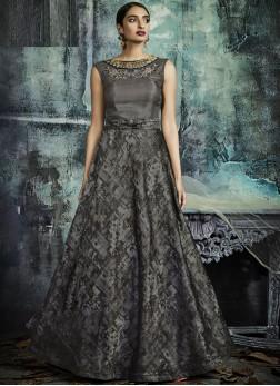 Subtle Lace Jacquard Designer Gown