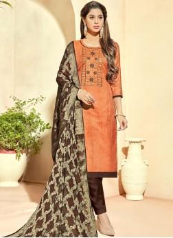 Subtle Orange Banarasi Silk Pant Style Suit