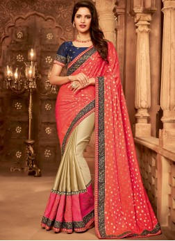 Subtle Patch Border Bridal Designer Half N Half Saree