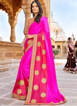 Subtle Patch Border Mehndi Designer Saree