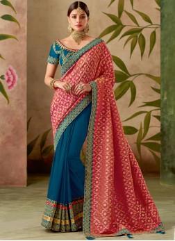 Sumptuous Art Silk Blue and Hot Pink Patch Border Designer Half N Half Saree