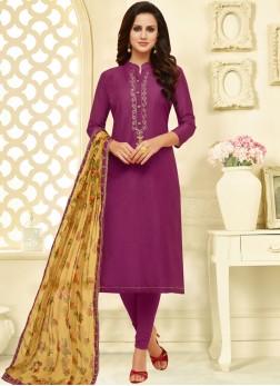Sumptuous Print Purple Churidar Suit