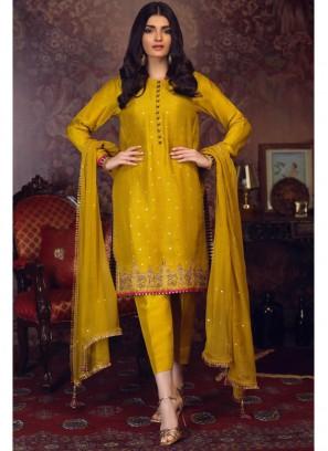 Sumptuous Rubi Silk Sequins Work On Salwar Suit In Mustard