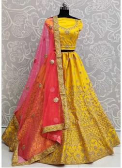 Sumptuous Wedding Wear Embroidery Work On Lehenga Choli In Yellow