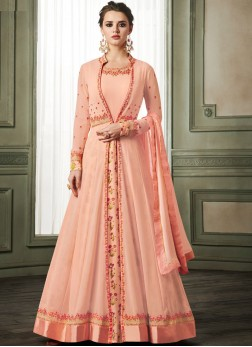 Sunshine Faux Georgette Resham Readymade Anarkali Suit