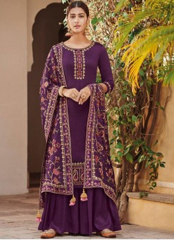 Sunshine Handwork Purple Designer Palazzo Suit