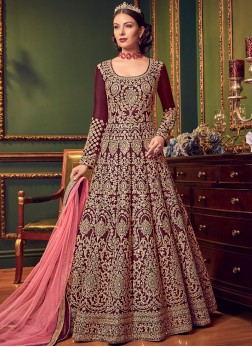Sunshine Maroon Wedding Floor Length Anarkali Suit