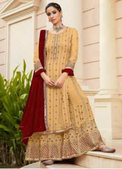 Superb Embroidery Work Sharara Style Salwar Suit In Gold - Maroon