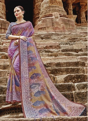 Superb Multi Colour Festival Printed Saree