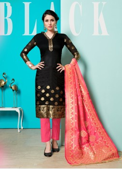 Superb Print Cotton Black Pant Style Suit
